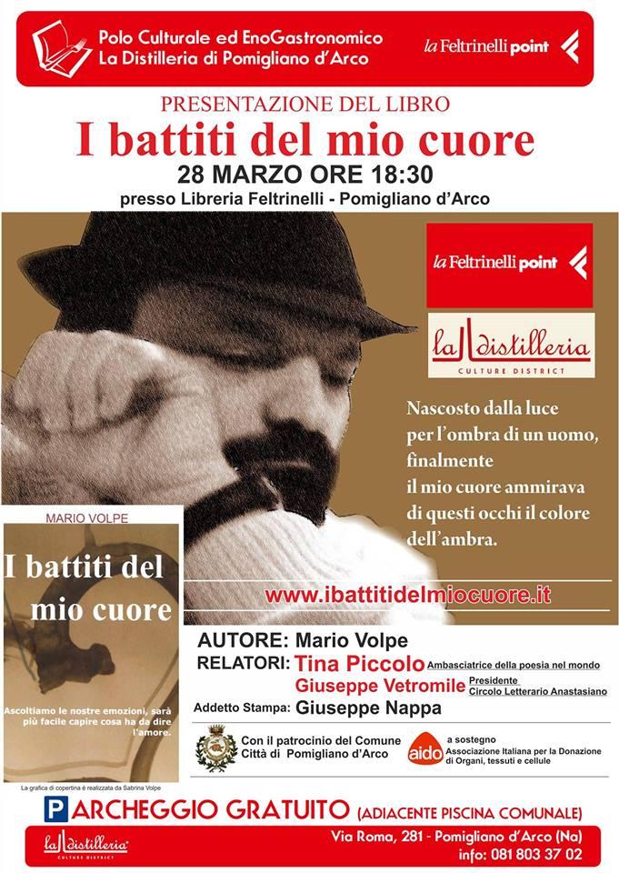 """Pomigliano D'Arco. Alla Feltrinelli """"I battiti del mio cuore"""": le poesie d'amore di Mario Volpe."""