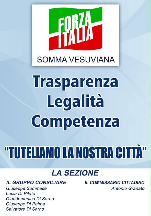 """Forza Italia: """"Oggi a Somma mancano trasparenza, legalità e competenza"""""""
