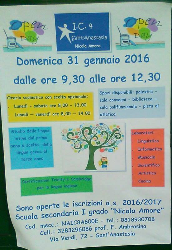 "Open day domattina all'istituto ""Nicola Amore"""