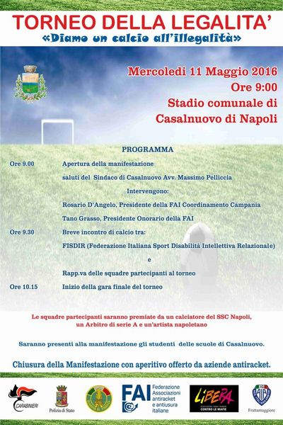 I torneo della legalità organizzato dalla FAI a Casalnuovo