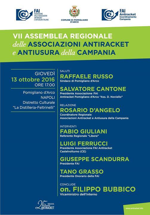 A Pomigliano la VII assemblea Regionale delle associazioni antiracket e antiusura