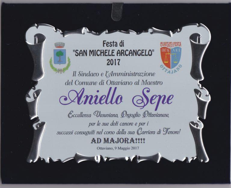 """Il tenore Aniello Sepe premiato dal Comune di Ottaviano come """"Eccellenza  Vesuviana"""""""