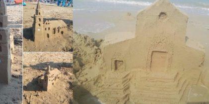 I monumenti di Somma riprodotti con la sabbia sulle spiagge abruzzesi