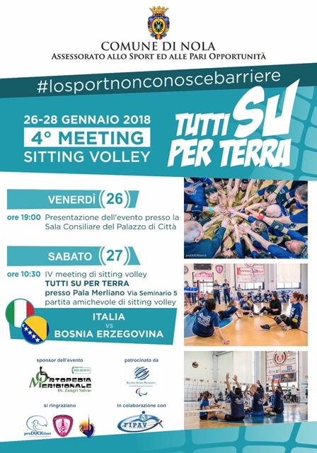 """Nola,""""Tutti su per terra"""": il quarto meeting di sitting volley. L'evento con 2 nazionali maschili"""