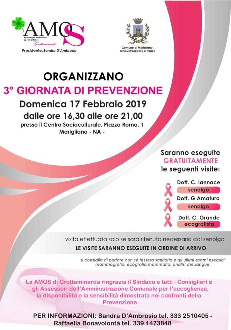 """Marigliano. Domenica 17 febbraio """"Terza Giornata di Prevenzione"""" dedicata alle donne per la lotta alle malattie al seno"""