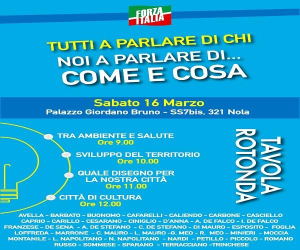 """Nola. Elezioni, sabato """"tavola rotonda"""" di Forza Italia"""