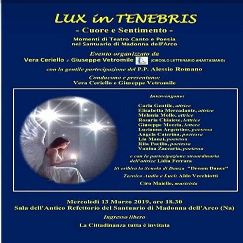 "Sant 'Anastasia. Evento artistico letterario al Santuario: ""Lux in Tenebris"""