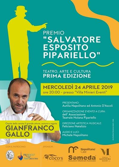 Cerimonia di premiazione del premio Teatro, Arte e Cultura Salvatore Esposito Pipariello