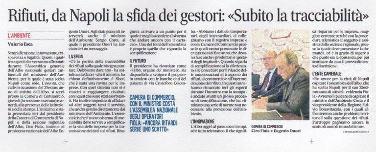 TRACCIABILITA' RIFIUTI, PRESUPPOSTO INDISPENSABILE A TUTELA DELLA SALUTE DEI CITTADINI ITALIANI!