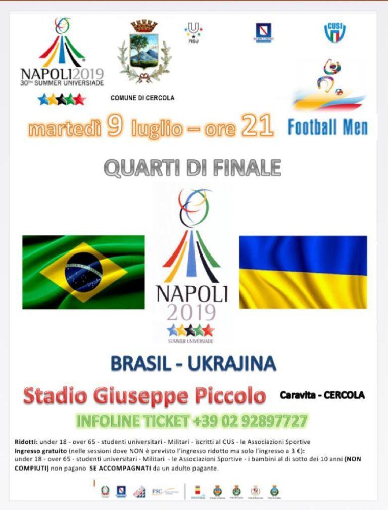 Universiade, quarti di finali di calcio a Cercola: domani Brasile-Ucraina
