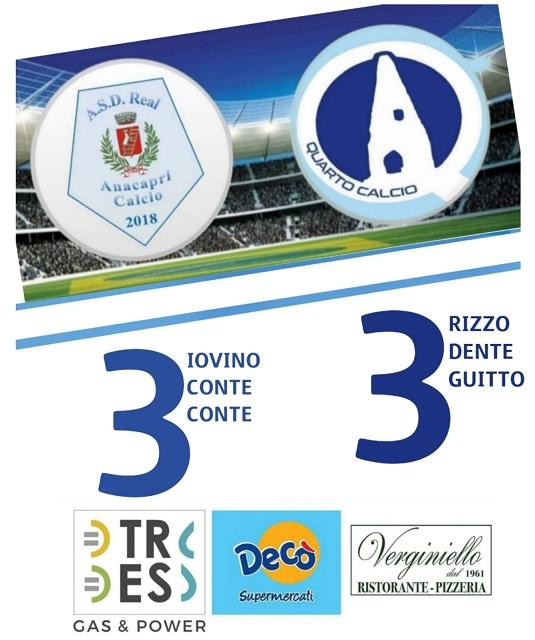 Calcio 1a Categoria. Pioggia di gol nel pareggio fra Real Anacapri e Quarto Calcio