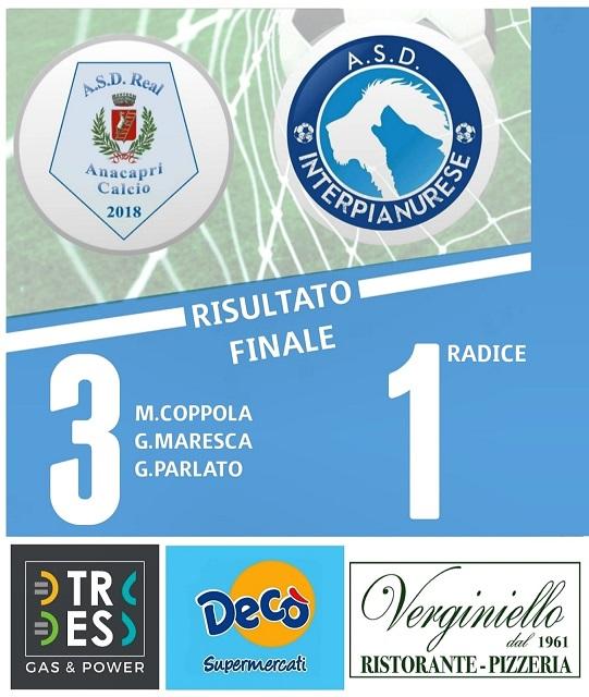 Calcio, Prima Categoria. Il Real Anacapri supera l'Interpianurese
