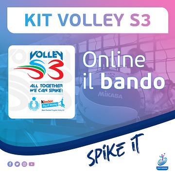 Volley S3, Kit didattico-sportivi: online il bando per l'assegnazione