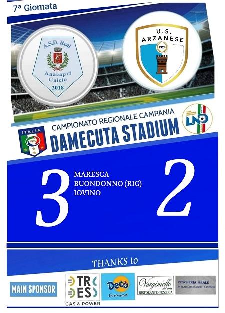 Calcio 1a Categoria. Vittoria epica per il Real Anacapri contro l'Arzanese