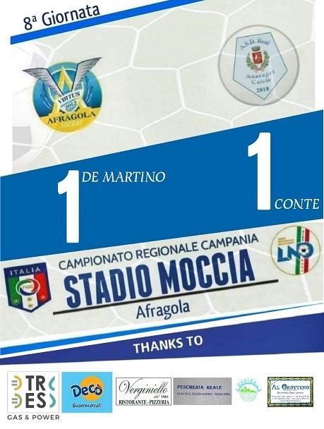 Calcio, Prima Categoria: è pareggio tra Real Anacapri e Virtus Afragola
