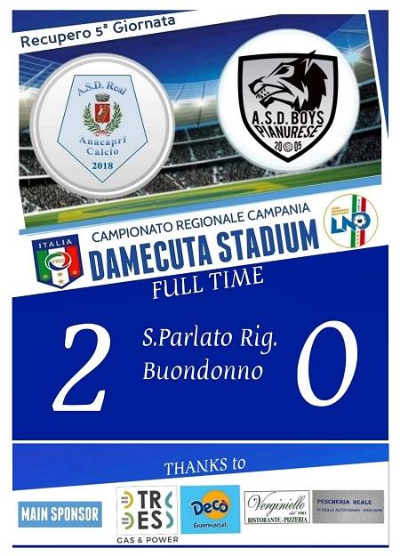 Calcio 1a Categoria. Il Real Anacapri supera la Boys Pianurese nel recupero della 5a giornata