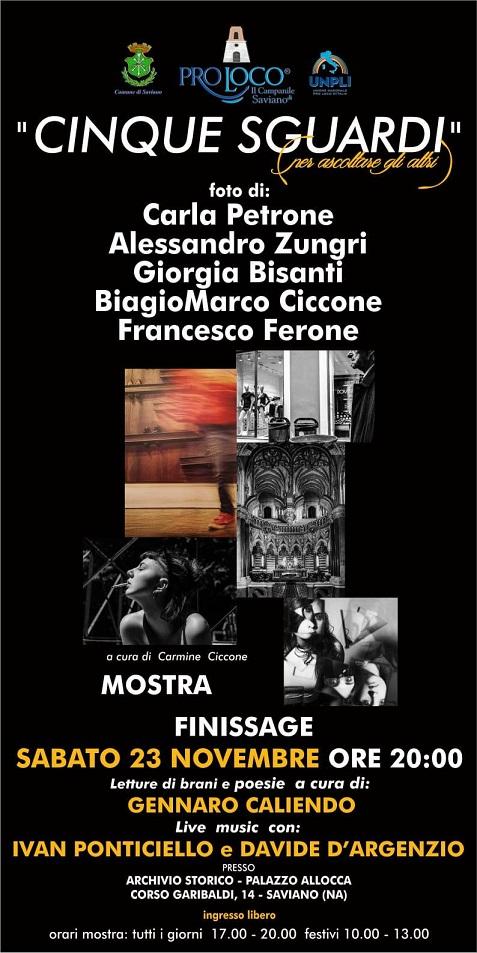 """Saviano. Finissage della mostra fotografica """"Cinque sguardi"""" curata da Carmine Ciccone"""