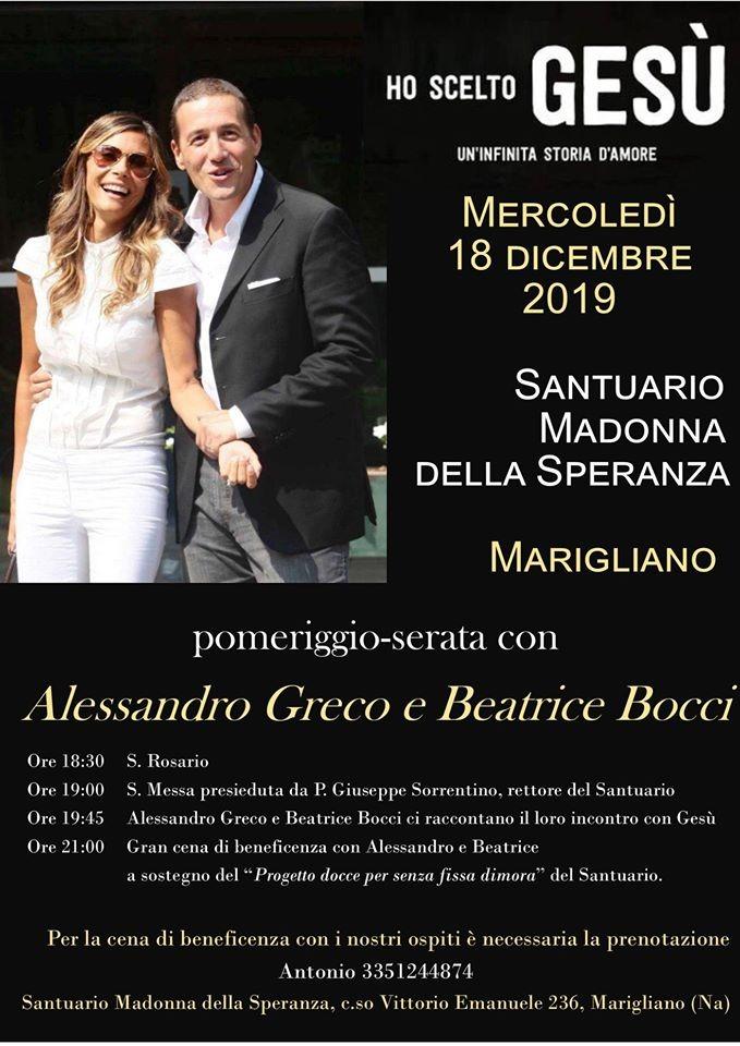 Cena benefica a Marigliano: ospiti Alessandro Greco e Beatrice Bocci