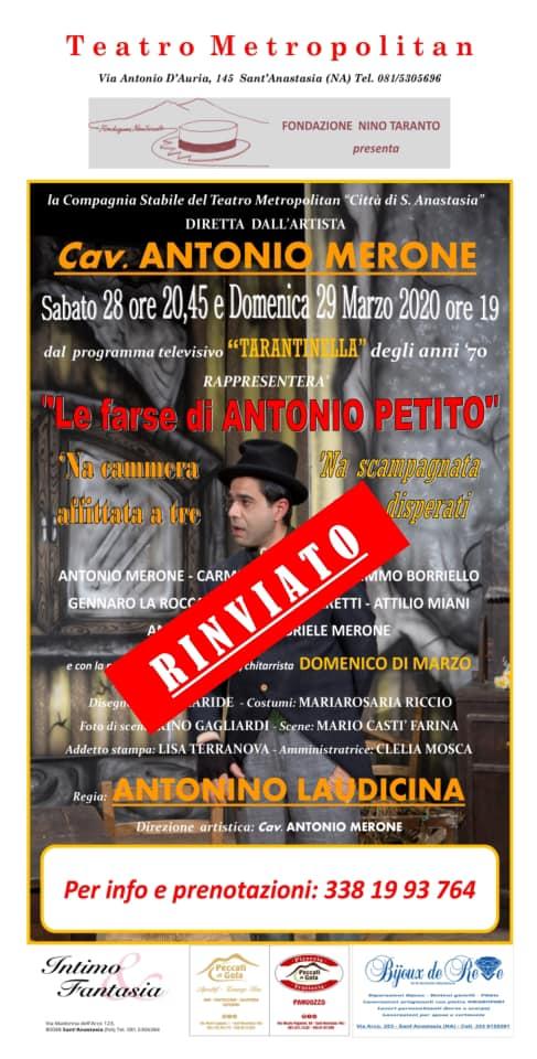 S.Anastasia. Teatro, rinviato lo spettacolo di Antonio Merone